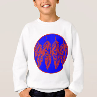 LNeel-Four-Feathers-Red-Blue Sweatshirt
