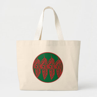 LNeel-Four-Feathers-Red-Green Large Tote Bag