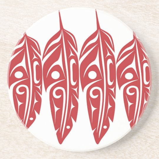 LNeel-Four-Feathers-Red-White Coaster