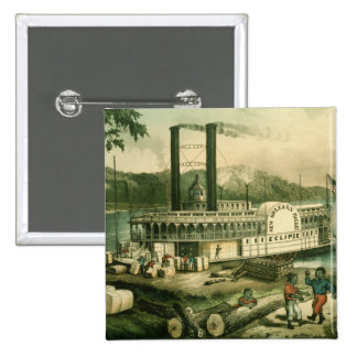 Loading Cotton on the Mississippi, 1870 2 Inch Square Button