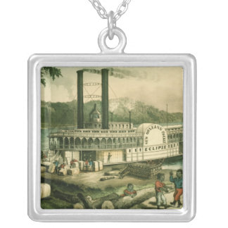 Loading Cotton on the Mississippi, 1870 Silver Plated Necklace