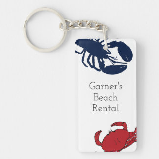 Lobster and Crab Custom Beach House Key Ring