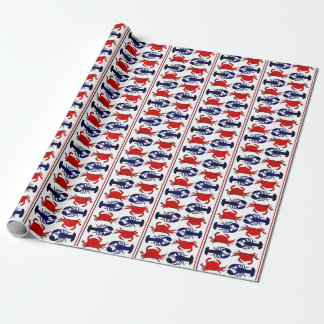Lobster and Crab Stripe Pattern Gift Wrap