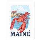 Lobster and Portland Lighthouse Scene Postcard