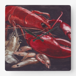 Lobster and Shrimps Square Wall Clock