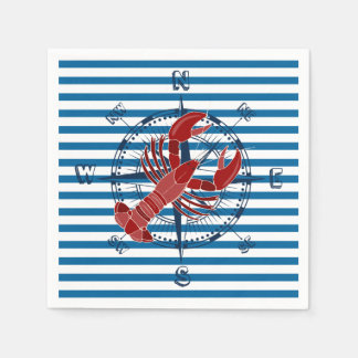 Lobster Blue and White Horizontal Stripe Paper Napkin