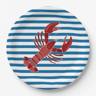 Lobster Blue and White Stripe Paper Plates