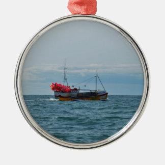Lobster Boat Amanda Jane Silver-Colored Round Ornament