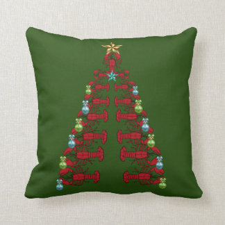 Lobster Christmas tree  party ugly pillow green