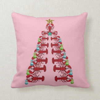 Lobster Christmas tree  party ugly pillow pink