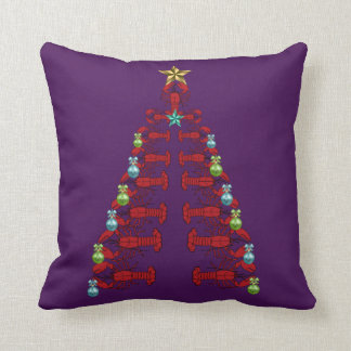 Lobster Christmas tree  party ugly pillow purple