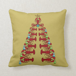 Lobster Christmas   tree  ugly pillow yellow gold