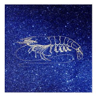 Lobster Crab Ocean Blue Beach Navy Foxier Gold Acrylic Wall Art