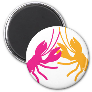 lobster fight 2 inch round magnet