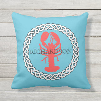 Lobster In A Rope Border Personalized Throw Pillow