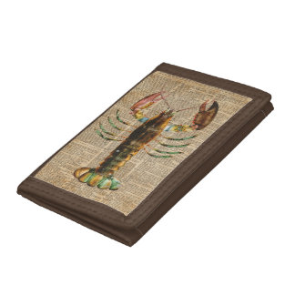 Lobster Mediterranean Sealife Vintage Artwork Tri-fold Wallet