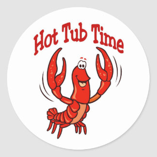 Lobster or Crawfish Hot Tub Time Round Sticker