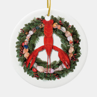 Lobster Peace Round Ceramic Ornament