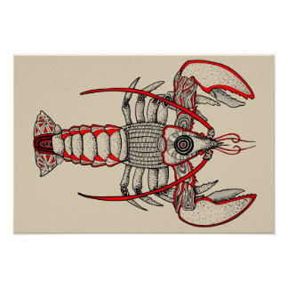 Lobster - Pointillism Study Poster