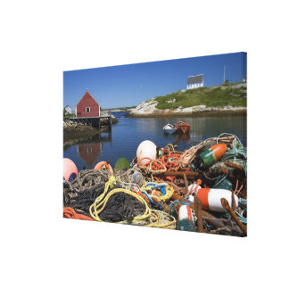 Lobster pots, buoys, and ropes on the dock at canvas print