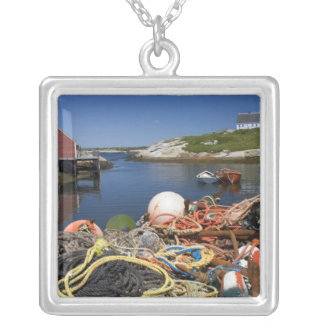 Lobster pots, buoys, and ropes on the dock at silver plated necklace