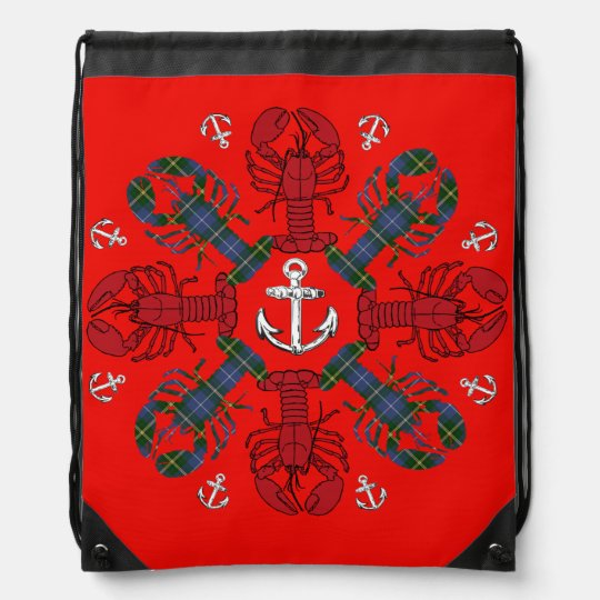 Lobster Snowflake Anchor N.S. Christmas bag Drawstring Backpack