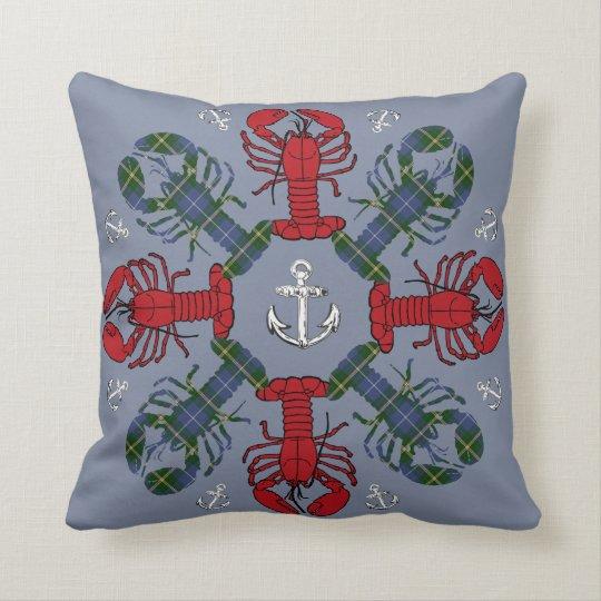 Lobster Snowflake Anchor N.S. Christmas blue Throw Pillow