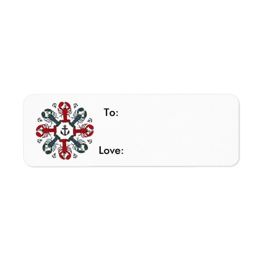 Lobster Snowflake Anchor N.S. Christmas gift tag Return Address Label