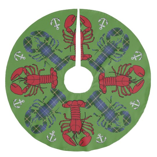 Lobster Snowflake Anchor N.S. Christmas green Brushed Polyester Tree Skirt
