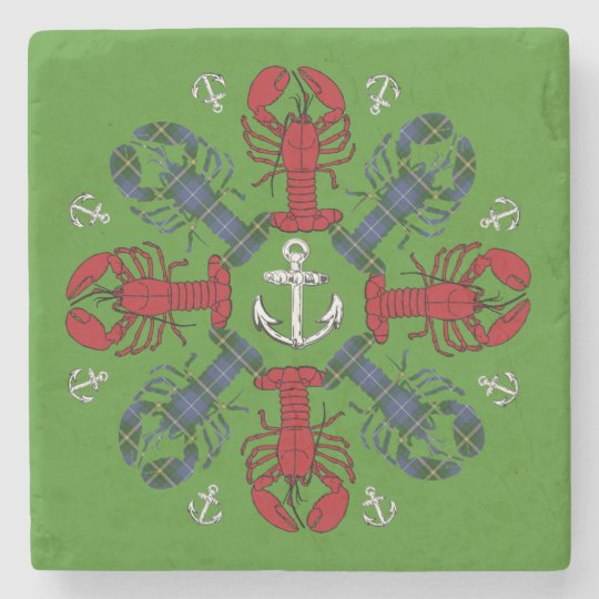 Lobster Snowflake Anchor N.S. Christmas marble Stone Beverage Coaster