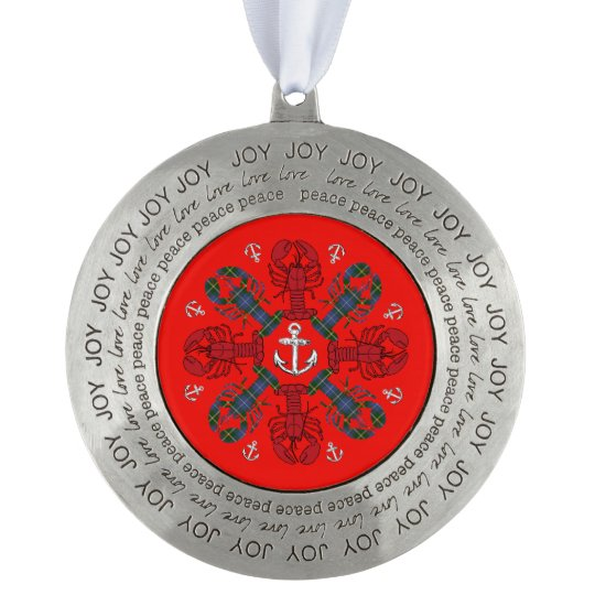 Lobster Snowflake Anchor N.S. Christmas ornament Round Pewter Ornament