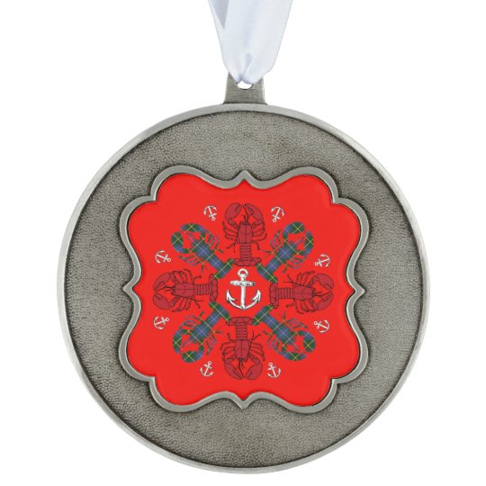 Lobster Snowflake Anchor N.S. Christmas ornament Scalloped Pewter Ornament