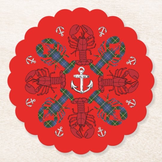 Lobster Snowflake Anchor N.S. Christmas party Paper Coaster