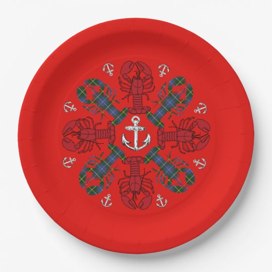 Lobster Snowflake Anchor N.S. Christmas plate 9 Inch Paper Plate