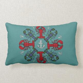 Lobster Snowflake Anchor N.S. Christmas red blue Lumbar Pillow