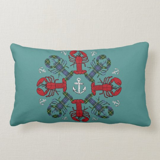Lobster Snowflake Anchor N.S. Christmas red blue Lumbar Pillow