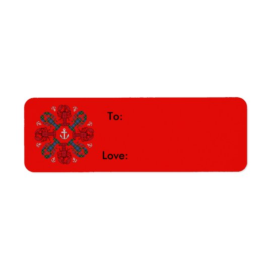 Lobster Snowflake Anchor N.S. Christmas red blue Return Address Label