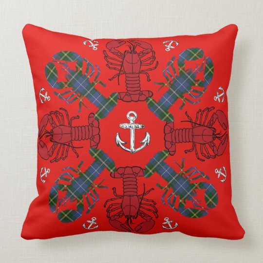 Lobster Snowflake Anchor N.S. Christmas red blue Throw Pillow