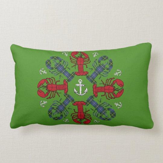 Lobster Snowflake Anchor N.S. Christmas red green Lumbar Pillow
