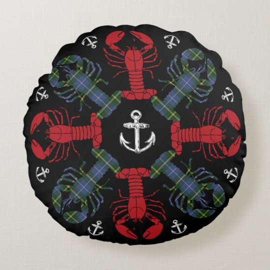 Lobster Snowflake Anchor Tartan  Christmas pillow