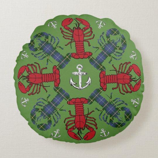 Lobster Snowflake Anchor Tartan  Christmas pillow