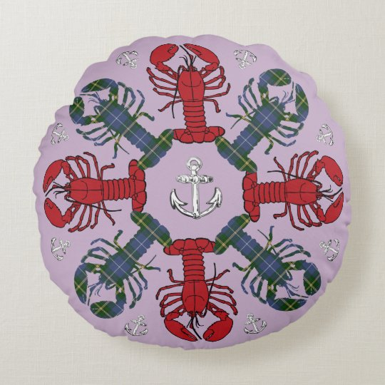 Lobster Snowflake Anchor Tartan  Christmas purple Round Pillow