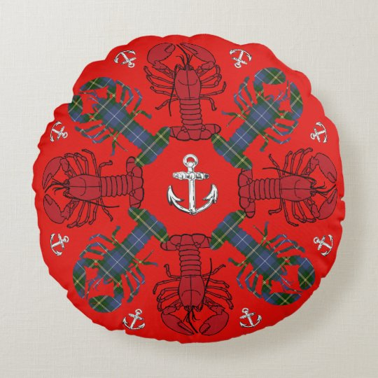 Lobster Snowflake Anchor Tartan Christmas red blue Round Pillow