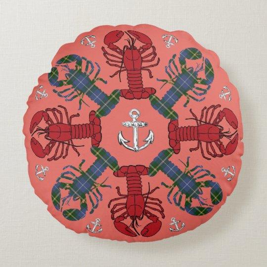 Lobster Snowflake Anchor Tartan  Christmas salmon Round Pillow