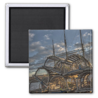 Lobster Traps and Tall Ship Masts Square Magnet