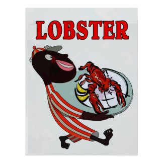 Lobster,vintage waiter poster