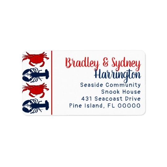 Lobsters Crabs Patriotic Large Address Label