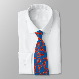 Lobsters on Blue Necktie