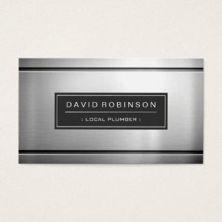 Local Plumber - Premium Silver Metal Business Card