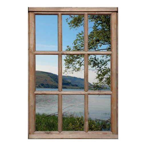 Loch in Scotland from a Window Posters